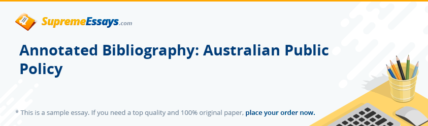 Annotated Bibliography: Australian Public Policy