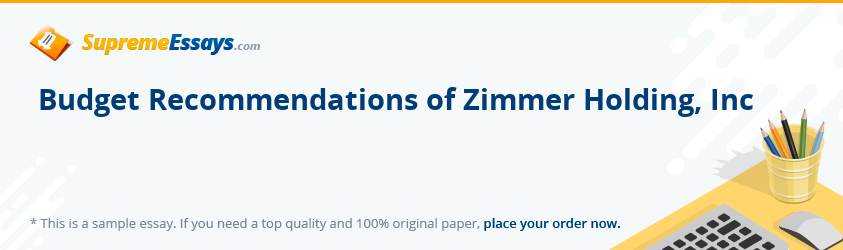 Budget Recommendations of Zimmer Holding, Inc