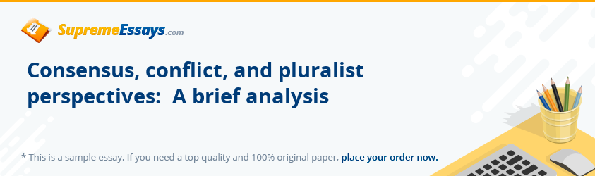 Consensus, conflict, and pluralist perspectives:  A brief analysis