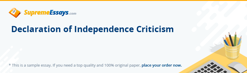 Declaration of Independence Criticism