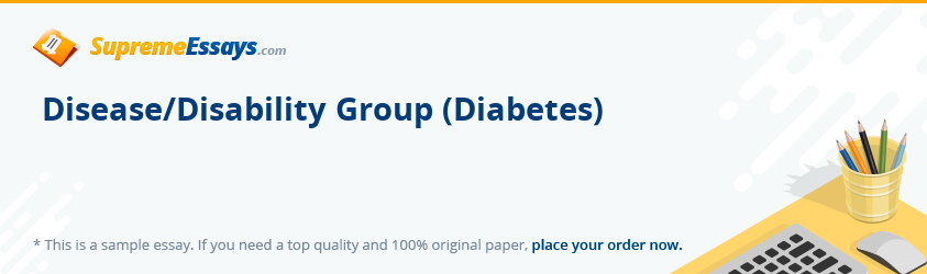 Disease/Disability Group (Diabetes)