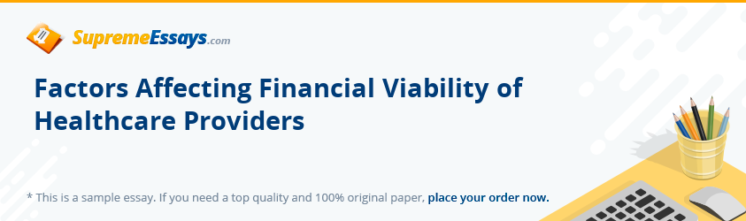 Factors Affecting Financial Viability of Healthcare Providers