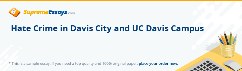 Hate Crime in Davis City and UC Davis Campus