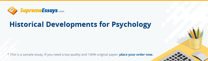 Historical Developments for Psychology