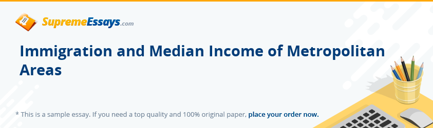 Immigration and Median Income of Metropolitan Areas