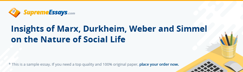 Insights of Marx, Durkheim, Weber and Simmel on the Nature of Social Life