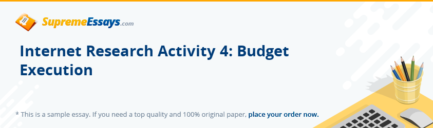 Internet Research Activity 4: Budget Execution