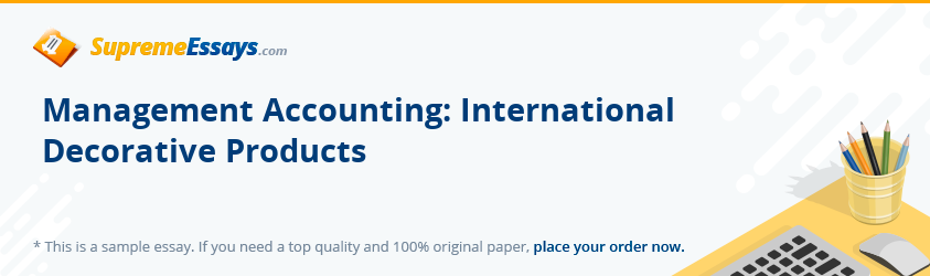 Management Accounting: International Decorative Products