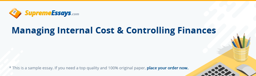 Managing Internal Cost & Controlling Finances
