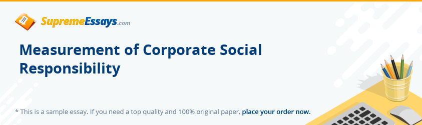Measurement of Corporate Social Responsibility