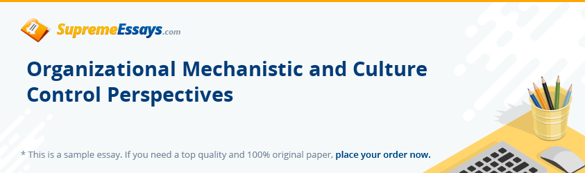Organizational Mechanistic and Culture Control Perspectives