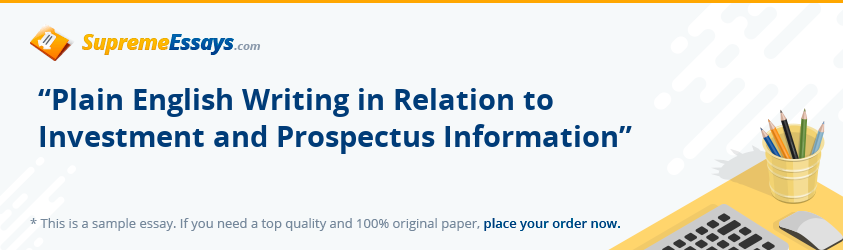"""Plain English Writing in Relation to Investment and Prospectus Information"""