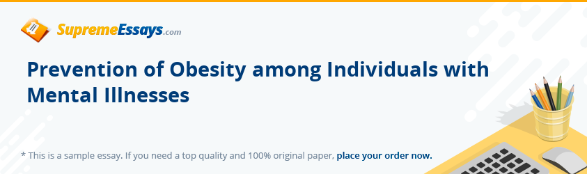 Prevention of Obesity among Individuals with Mental Illnesses