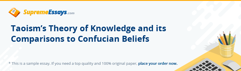 Taoism's Theory of Knowledge and its Comparisons to Confucian Beliefs