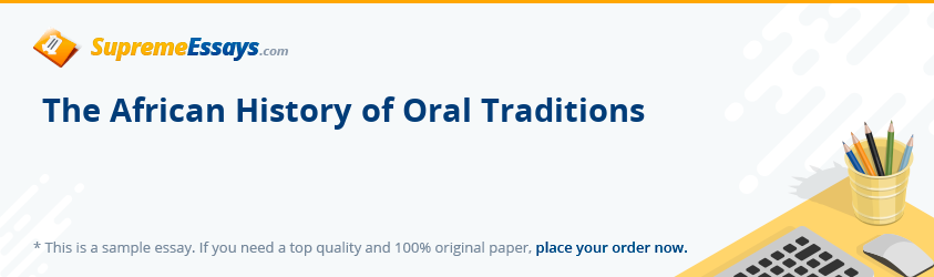 The African History of Oral Traditions