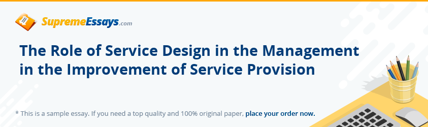 The Role of Service Design in the Management in the Improvement of Service Provision