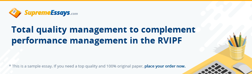 Total quality management to complement performance management in the RVIPF