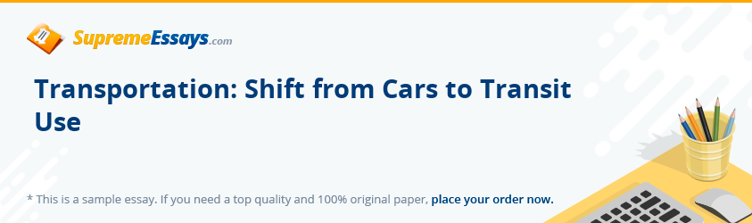 Transportation: Shift from Cars to Transit Use